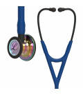 Littmann Cardiology IV Stethoscope High Polish Rainbow-Finish Chestpiece, Navy Tube, Black Stem and Black Headset, 27 inch, 6242